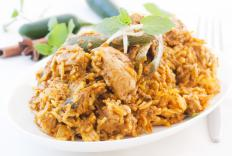 Biryani is a version of pilaf that is seasoned with various Indian spices and features meat, vegetables and rice.