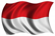 The flag of Indonesia, where Krakatoa is.