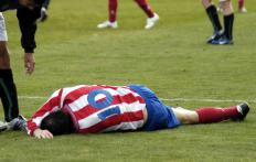 A soccer player could fracture his clavicle bone due to a fall or blow to the head.