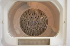 A clothes dryer with a heater coil.