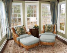 Low furniture in a sunroom ensures the most light can enter.