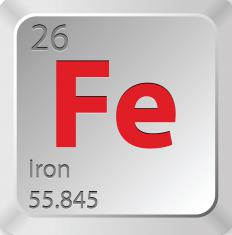 Iron's atomic weight is expressed by the number 55.845.