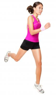 The gastrocnemius muscle pushes the leg down in activities like jogging.