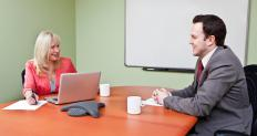 A human resource manager conducting an interview.
