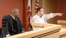 Witness testimony is given in a legal proceeding.