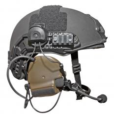 A helmet with a walkie talkie built in.