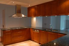 Task lighting under cabinets focuses light on the countertop below.