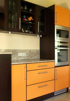 Modular kitchens use pre-made cabinets and other parts to create kitchens more cheaply than if they were custom built.