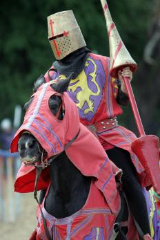 Medieval knights wore heraldic devices over their armor to signify their identity during battle.