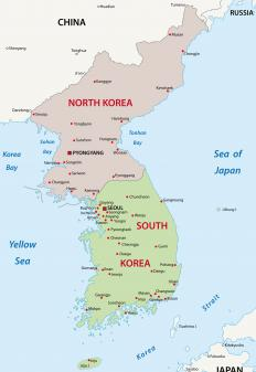 The Korean Demilitarized Zone divides the Korean peninsula at the 38th parallel.