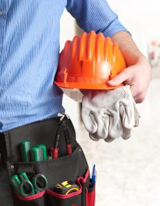 Construction sites require safety equipment, including hard hats.
