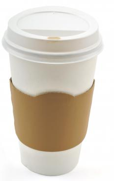 "Paper coffee cups and lids often have a ""Caution: Hot Beverage"" warning on them."
