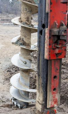 Augers -- which are helical drill bits -- may be used for boring into the ground.