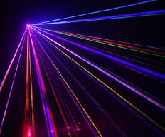 Laser light shows are common in stadium rock shows.