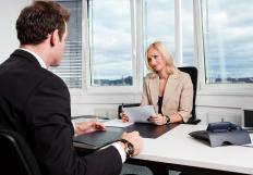 A human resources manager conducting an interview.