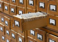 An old fashioned card catalog in a library.