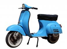 A moped operates on two wheels.