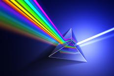 Colors and light split into a spectrum, which scientists can observe using a spectroscope.