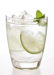 A mojito usually includes rum, mint leaves, sugar, soda water and fresh lime juice.