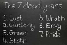 A list of the seven deadly sins, including envy.