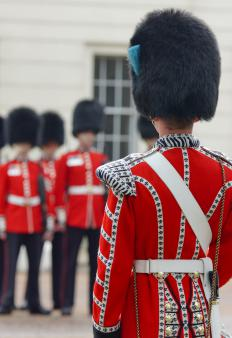 The distinctive uniforms of the Queen's Guard are displayed at the Guards' Museum.