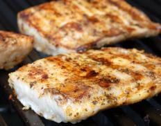 Fish fillets on the grill.
