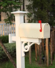 Most mailboxes are located close to the road, at the end of a rural driveway.