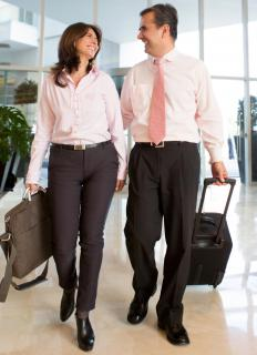 Large corporations frequently send their employees on trips to conduct company business.
