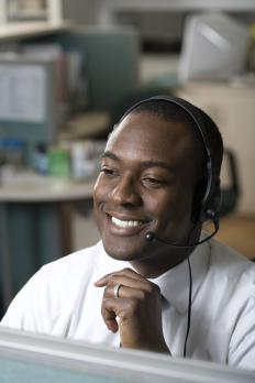 A telephone headset allows a person to speak on the phone without using their hands.