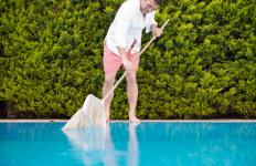 Manual pool skimmers, consisting of a net on a pole, are the simplest option for cleaning a pool.