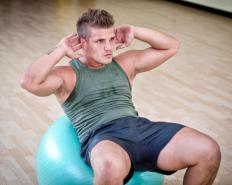 Crunches can be performed on exercise balls for added resistance.