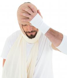 Forehead swelling may be the result of a head injury.