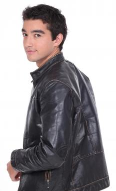 Man in a 1950s leather jacket.