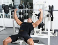 The Olympic bar is commonly used by bodybuilders and power lifters when bench pressing.
