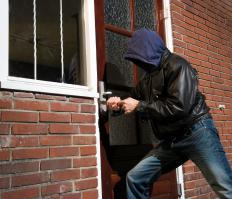 A door security bar may help keep burglars out of a person's home.