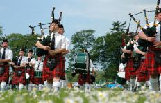 Pipes and drums bands feature bagpipers and several different types of drums.