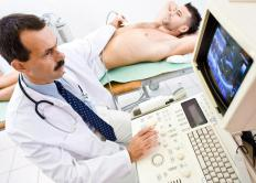 Men who are at risk for developing breast cancer may undergo a breast ultrasound.