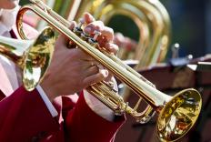 Traditional music shops may offer instruments for rent, including trumpets.