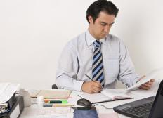 A corporate accountant handles financial records for a company.