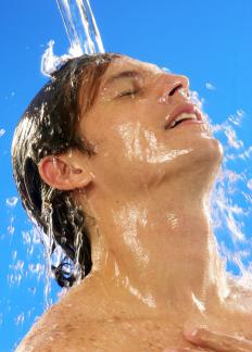 The water is cycled between hot and cold water during a contrast shower.