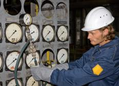 Instruments that monitor chemical plant conditions and operate control valves may be powered by electricity or compressed air.