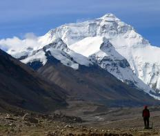The air density at the top of Mount Everest is much lower than at sea level.