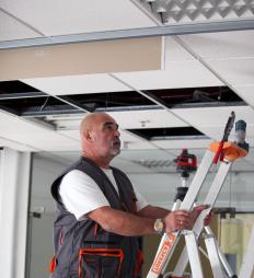 Drop ceiling tiles can be made from a variety of lightweight materials.