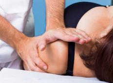 A severely bruised shoulder may require a physical therapist after healing has begun.