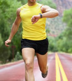 Runners may use athletic watches to monitor their speed, distance, and heart rate.
