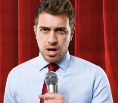 A master of ceremony gives speeches at events such as weddings.