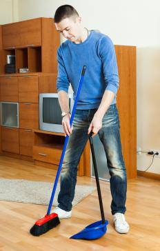 Brooms with synthetic bristles are chemically treated to attract dust and debris.
