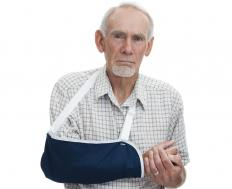 A sling may be worn to treat a swollen elbow.