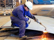 Stock removal is often done with an oxyfuel torch in metal fabrication.