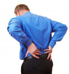 A man with lower back pain from a bulging disk.
